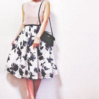 オーガンジーの花柄スカート作りました
