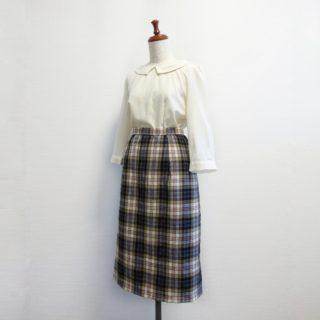 オリジナルのパターンでチェックのタイトスカート作りました
