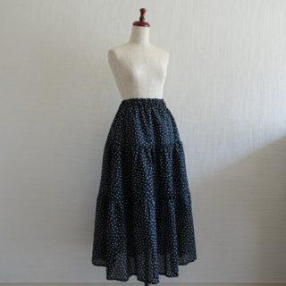 ティアードスカート作りました!囲み製図も。ドット柄がかわいい♡